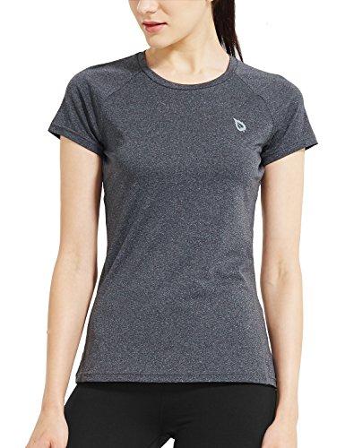 Baleaf Women's Short Sleeve Cool Feeling Running Shirt Mesh Back Heather Charcoal Size - Gear Size Triathlon Plus