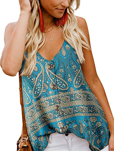 - jonivey Women's Casual V Neck Spaghetti Strap Button Down Cami Shirt Blouses Tank Tops (PAT1,M)
