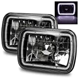 78 ford f150 parts - ModifyStreet 7x6 H6014/H6052/H6054 Black Crystal Headlights Lamps Conversion with White SMD Halo Ring