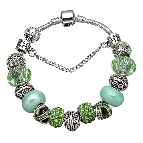 European Zinc Alloy Barrel Snap Clasp Charm Bracelet Fully Beaded with Assorted Glass, Metal, and Crystals for Women & Girls (Choose your Color & Style) All Size 7.5 inch (Green) (Aqua Bracelets Murano)