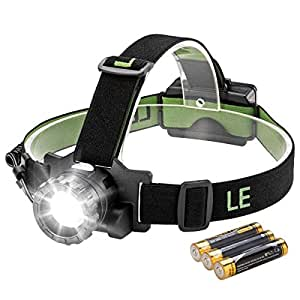 LE CREE LED Headlamp, 3 Modes Zoomable Headlight, Battery Powered Helmet light for Camping Running Hiking Reading, 3 AAA Batteries Included