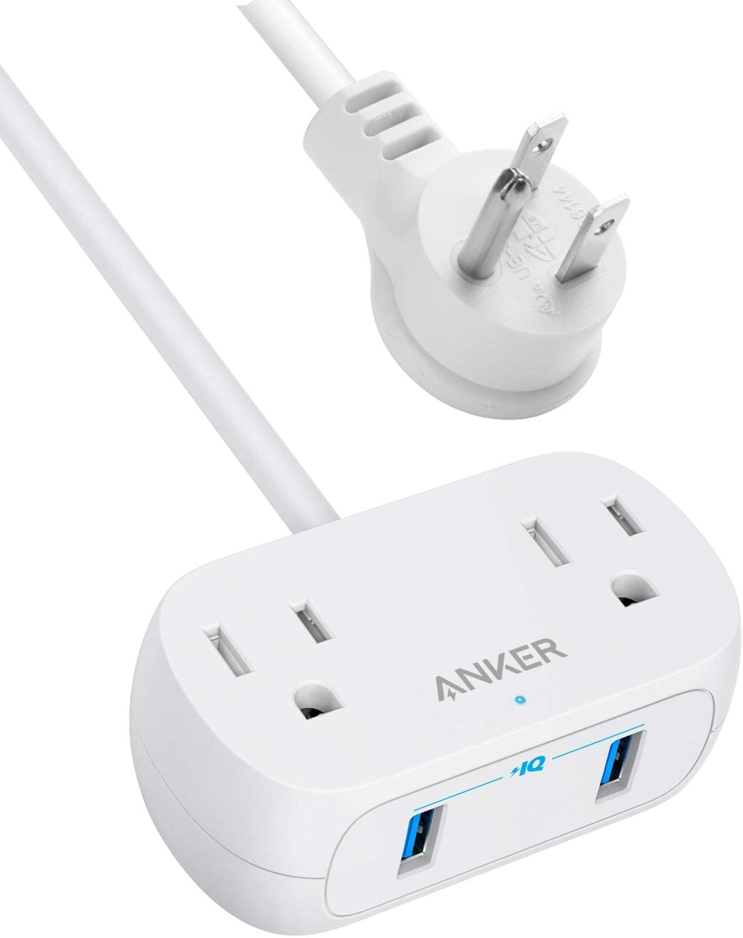 Anker Power Strip with USB PowerExtend USB 2 mini, 2 Outlets, and 2 USB Ports, Flat Plug, 5 ft Extension Cord, Safety System for Travel, Desk, and Home Office