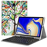 MoKo Keyboard Case Fit Samsung Galaxy Tab S4 10.5 2018 Release Tablet SM-T830/T835, Slim Folio PU Leather Stand Cover w/Detachable Wireless Bluetooth Keyboard,Built-in S Pen Holder - Lucky Tree
