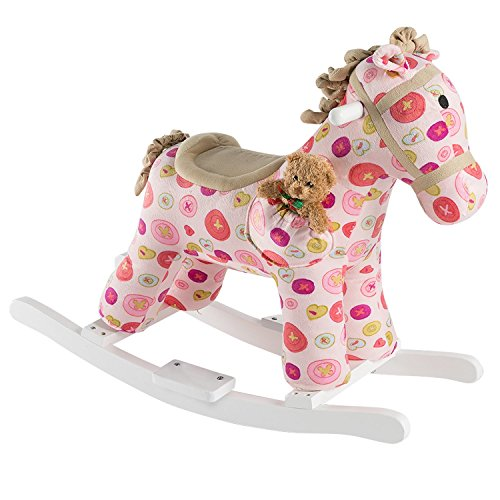 HollyHOME Rocking Horse with Sound Stuffed Animal Ride On Toy Pink by by HollyHOME