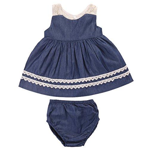 Toddler Kids Baby Girls Sleeveless Lace Collar Denim Ruffle Dress +Short Pants Outfits 2Pcs Clothes Set (12-24M) (Bloomers Dress Spring)