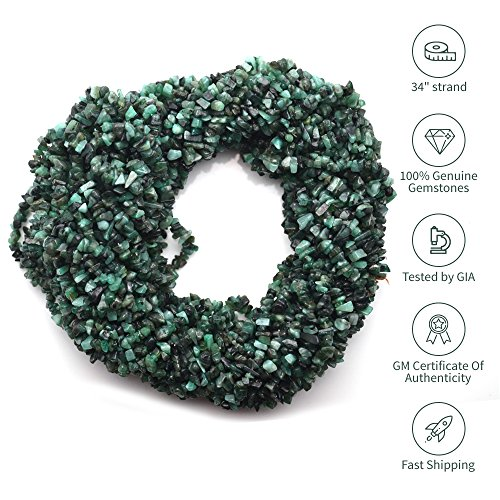 Stone Chip (1 Strand (34inches) of Real Natural Emerald Gemstone Chips Beads. Green color, wholesale price. Prepared exclusively by GemMartUSA)