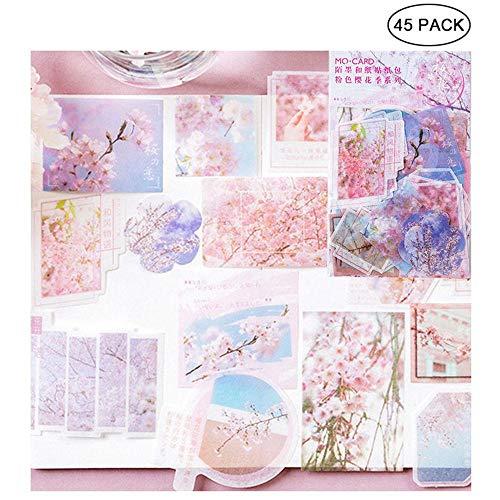 FOONEE Ephemera for Scrapbooking, 45 Pieces Cherry Blossom Series Vintage Ephemera Pack, Ephemera Card Stock for Notebook, Journal, Card Making, Letters
