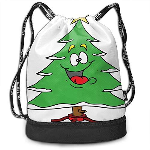 Drawstring Bag Cute Christmas Trees Womens Gym Backpack Stylish Mens Travel Canvas Bags For Girls -
