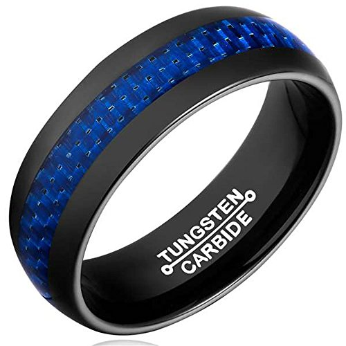 8MM Men's Black Tungsten Carbide Engagement Ring Wedding Band Blue Carbon Fiber Inlay Comfort Fit Size 11