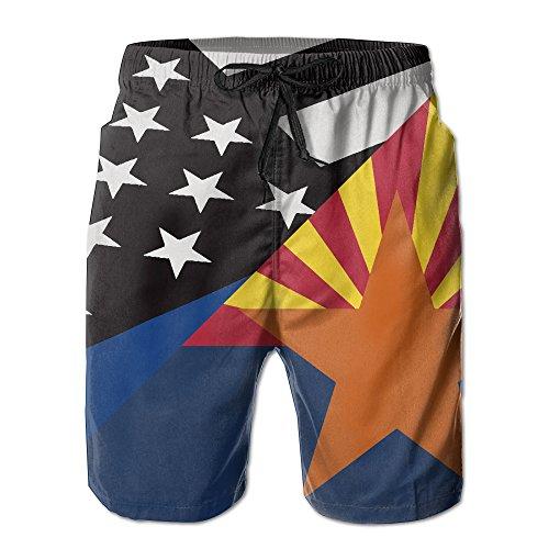 TE-REX Mens Thin Blue Line Arizona State Flag Summer Quick-drying Swim Trunks Beach Shorts Board