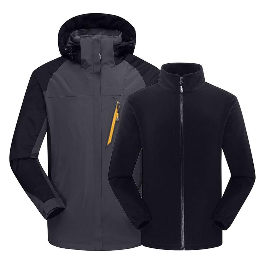 certainPL Men's Ski Waterproof 3 in 1 Jacket with Fleece Inner Rain Winter Coats Hooded Air Interchange Windproof Snowboard Jacket for Hiking Snow Outdoor Travel (Gray, L)