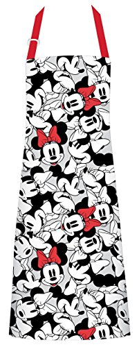 Best Brands Disney Cotton Apron - Minnie Mouse Face, Gray - Keep Cute, Clean, and Comfortable During All Your Cooking Experiences
