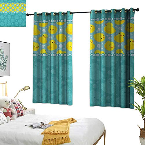 Eclipse Curtains Rubber Duck,Yellow Cartoon Duckies Swimming in Water Pattern with Fun Bubbles Aqua Colors, Teal Blue 63
