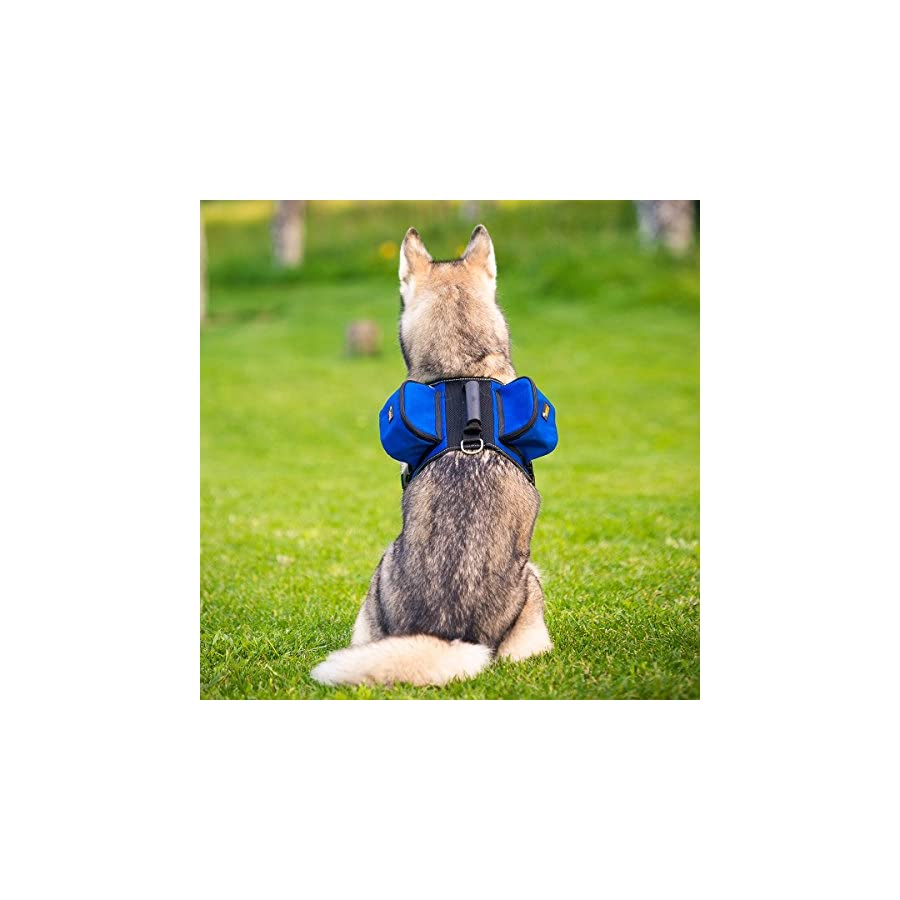 Ondoing Dog Backpack Adjustable Dog Saddle Bag Dog Pack Pet Harness with Reflective Strip for Medium and Large Dogs Training Hiking Camping