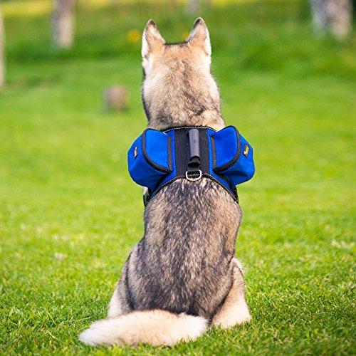 Ondoing Dog Backpack Pet Harness Reflective Adjustable Saddle Bag Training Hiking Camping for Medium and Large Dogs
