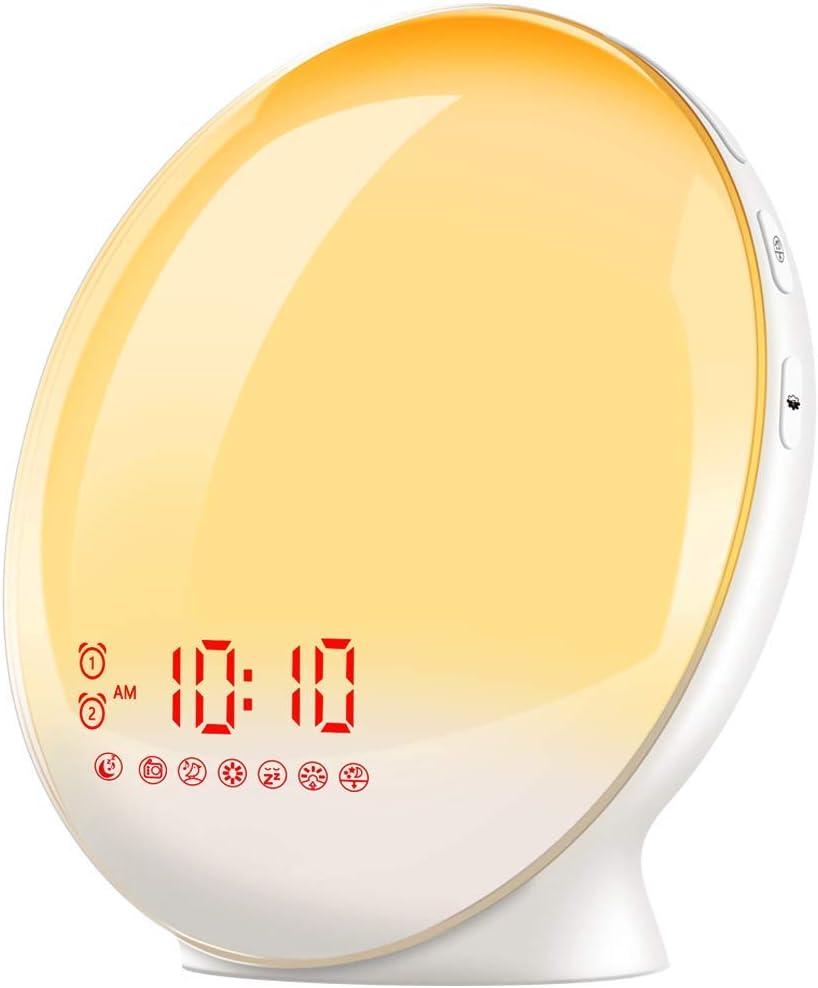 TITIROBA Sunrise Alarm Clock, Smart Wake up Light, Sleep Aid Digital Alarm Clock with Sunset Simulation and FM Radio, APP Control /Snooze /4 Alarms /7 Alarm Sounds/20 Brightness /7 Colors