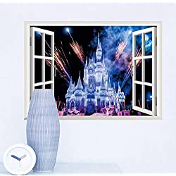 couplebracelets Fantasy Castle in the Princess Dream Cartoon Wall Decal, Removable Vinyl Stickers for Kids Rooms, Baby Nursery, Girls Bedroom Wall Decals Stickers