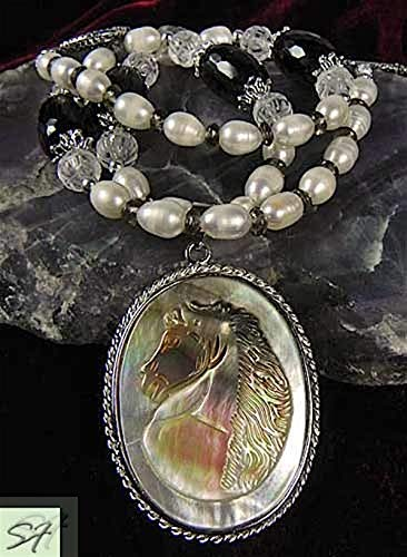 Horse Cameo Jewelry Carved cameo Horse pendant with freshwater pearls carved rock-crystal and smoky quartz necklace