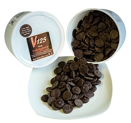 Spectacular Chocolate Chip - Chocoley Dark Couverture Chocolate - 5 lbs - V125 Indulgence Courverture Chocolate - 2 x 2.5 Pound Tubs of Artisan Chocolatier/Pastry Chef Grade Couverture Chocolate - Semi Sweet Dark