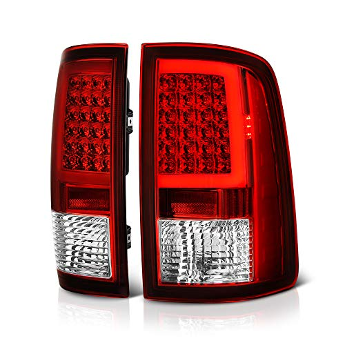 VIPMOTOZ OLED Neon Tube Tail Light Lamp For 2009-2018 Dodge RAM 1500 2500 3500 - [Factory Incandescent Model] - Rosso Red Lens, Driver & Passenger -