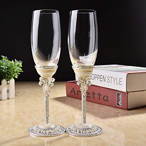 Wedding Toasting Goblets - New design creative gift art craft wedding glasses champagne red wine bride groom crystal enamel cup party decor Toasting Goblet