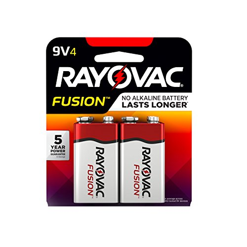 RAYOVAC 9V 4-Pack FUSION Premium Alkaline Batteries, A1604-4TFUSK