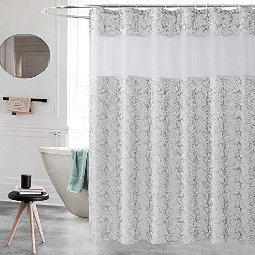 UFRIDAY Fabric Shower Curtains with Floral Patterns, Silvery Gray Bathroom Curtain with Damask Decor, Heavy Duty and Waterproof, Mesh Window Design, Weighted Bottom Hem (72Wx75L)