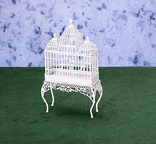 Miniature Victorian White Wire Dollhouse - Dollhouse Miniature Victorian White Wire Bird Cage