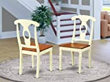 East West Furniture KEC-WHI-W Napoleon-Styled dining chair set - Wooden Seat and Buttermilk Hardwood Frame dining room chairs set of 2