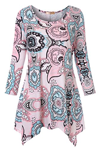 Luranee Dressy Shirts for Women, Woman Going Out Tops 3/4 Sleeve Swing Peasant Tunics Modren Elegant Sleek Popular Latest Sturdy Knitted Tribal Church Pullover 2018 Pink Large (New Fall Slacks Slacks)
