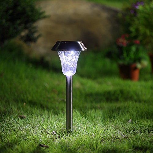 New-LED-Solar-Outdoor-Lighting-Garden-Patio-Landscape-Lights-Stainless-Steel-Weather-Proof-with-Guarantee-by-Treeco-6-pack-Silver