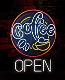 Mirsne neon signs, glass tube neon lights, 24'' by 24'' inch Coffee Shop Open neon signs bar, the best neon sign custom supplied for a wide range of personal uses.