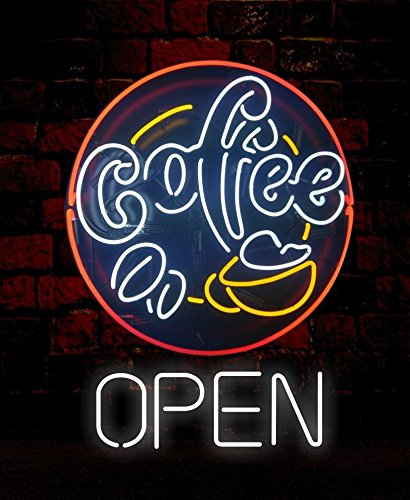 Mirsne neon signs, glass tube neon lights, 24'' by 24'' inch Coffee Shop Open neon signs bar, the best neon sign custom supplied for a wide range of personal uses. by Mirsne (Image #1)