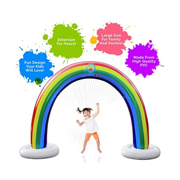 Splashin'kids Outdoor Rainbow Sprinkler Super Toddler Water Toys for Children Infants Boys Girls and Kids Perfect Outside Inflatable Water Park for Summer Fun Watch Video Slip and Slide Splash pad 5