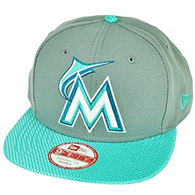 MLB New Era 9Fifty Flash Vize Miami Marlins Snapback Hat Cap Flat Bill Gray Blue