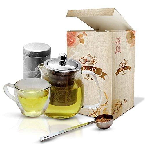 Stargoods Tea Set - Jar & Mug with Stainless Steel Infuser, Spoon & Can