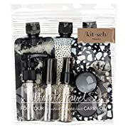 Kitsch Ultimate Travel Bottles Set, Travel Containers, Carry on, TSA approved – 11pcs (Black & Ivory)