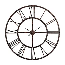 Utopia Alley Rivet Roman Industrial Oversize Wall Clock, Antique Bronze, 45 L x 45 H