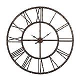 Utopia Alley Rivet Roman Industrial Oversize Wall Clock, Antique Bronze, 45'' L x 45'' H