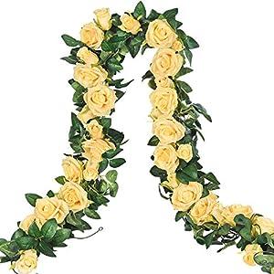 Sunm boutique Artificial Rose Vine, 6.5 FT Artificial Flower Hanging Rose Ivy, Silk Fake Rose Flowers Green Vine Garland for Wedding Party Garden Office Craft Art Kitchen Home Decor 18