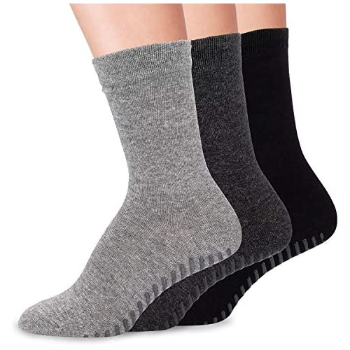 Gripjoy Grip Socks Non Slip Socks for Women | Non Skid Hospital Socks – 3 pk