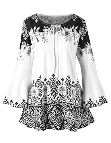 - Women Printed Flare Tunics Floral Vintage Blouses Long Flower Bell Sleeve Keyhole T-Shirts Plus Size Tops