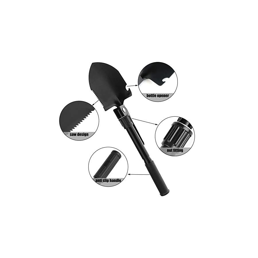 Yardsky Folding Camp Shovel Small Survival Tool Truck Kit for Digging Mini Military Foldable Portable Multitool for Camping Gardening Beach and Snow Emergencies