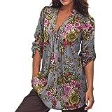 FENZL Women Plus Size Fashion Vintage Floral Print V-Neck Tunic Tops Shirt (L, Gray)