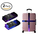 SWEET TANG Add A Bag Luggage Straps, Suitcase Belt Blue Purple Galaxy Travel Accessories 2-Pack