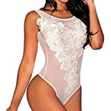 Sexy One Piece Lingerie for Women Floral Lace Embroidery Teddy V Neck Bodysuit Babydoll Chemise