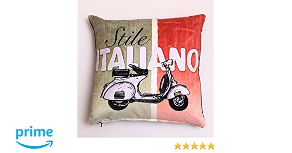 Euler Italian Vespa Throw Pillow Case Cushion Cover Home Decorative Solid Square Comfortable Cotton Pillowcase, Handmade with Zipper for ...