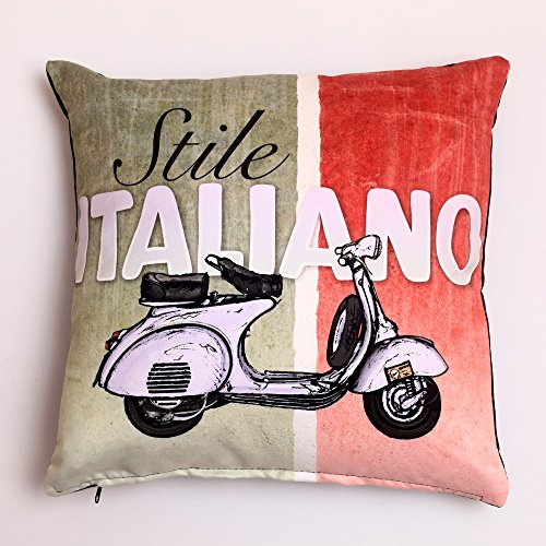 Euler Italian Vespa Throw Pillow Case Cushion Cover Home Decorative Solid Square Comfortable Cotton Pillowcase, Handmade with Zipper for Sofa/Couch/Bed/Chair/Car 18 x 18 Inch (45 x 45 cm) (Italian) (Bed Italian)