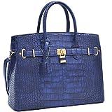 MMK Collection Fall~Winter Women Handbag Fashion Satchel for Women (02-1006)~Croco Padlock Handbag~Designer Women Purse/Handbag~Gifts for Women (02-1006 Royal Blue)