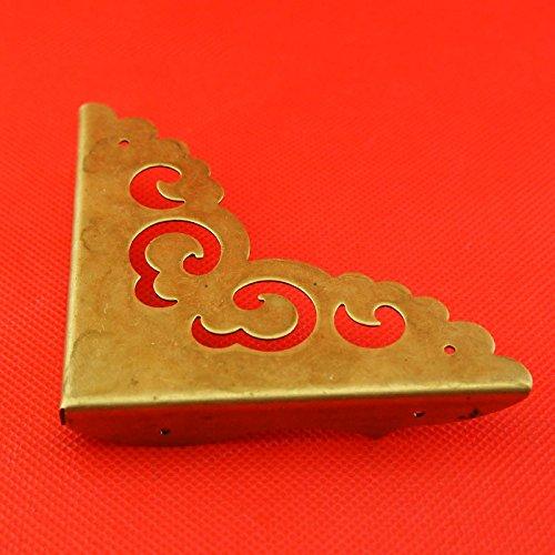 ChenXi Shop - Juego de 4 protectores de esquina de lató n envejecido para pata de madera